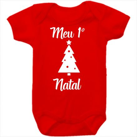 Body de Bebê Meu Primeiro Natal Vermelho 100% Algodão FN0024