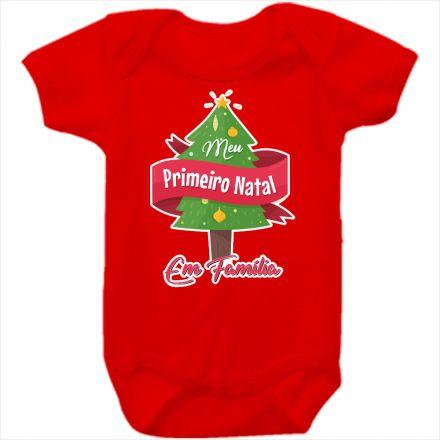 Body de Bebê Meu Primeiro Natal Vermelho 100% Algodão FN0025