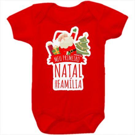 Body de Bebê Meu Primeiro Natal Vermelho 100% Algodão FN0026