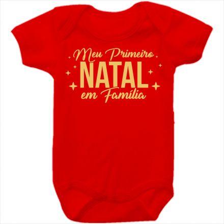Body de Bebê Meu Primeiro Natal Vermelho 100% Algodão FN0027