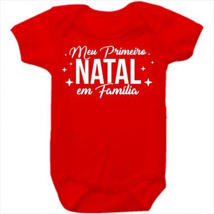 Body de Bebê Meu Primeiro Natal Vermelho 100% Algodão FN0028