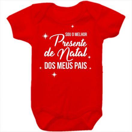 Body de Bebê Meu Primeiro Natal Vermelho 100% Algodão FN0029
