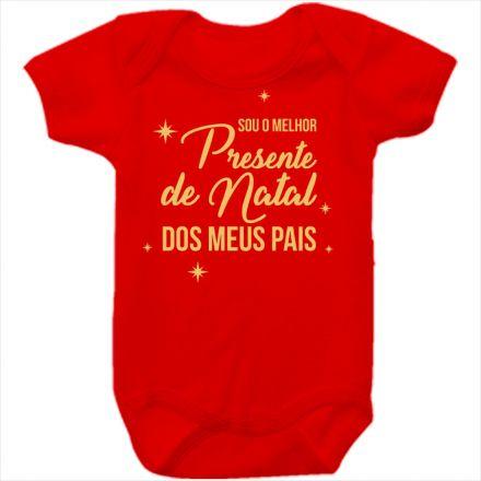 Body de Bebê Meu Primeiro Natal Vermelho 100% Algodão FN0030