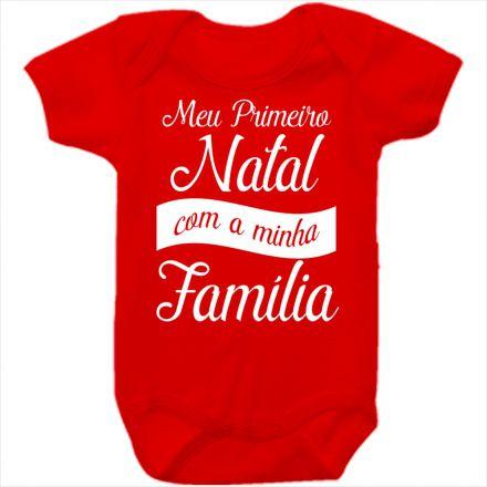 Body de Bebê Meu Primeiro Natal Vermelho 100% Algodão FN0031