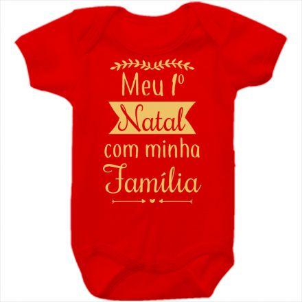 Body de Bebê Meu Primeiro Natal Vermelho 100% Algodão FN0032