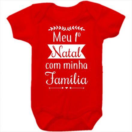 Body de Bebê Meu Primeiro Natal Vermelho 100% Algodão FN0033