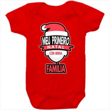 Body de Bebê Meu Primeiro Natal Vermelho 100% Algodão FN0034