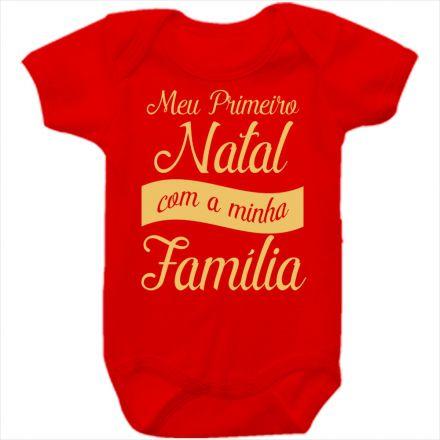 Body de Bebê Meu Primeiro Natal Vermelho 100% Algodão FN0035