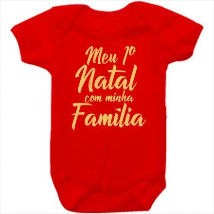 Body de Bebê Meu Primeiro Natal Vermelho 100% Algodão FN0036