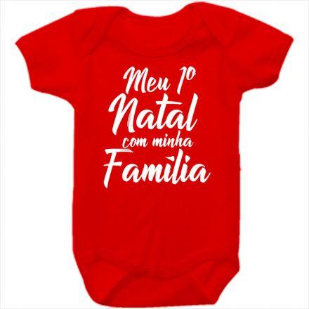 Body de Bebê Meu Primeiro Natal Vermelho 100% Algodão FN0037