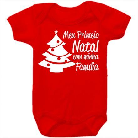 Body de Bebê Meu Primeiro Natal Vermelho 100% Algodão FN0038