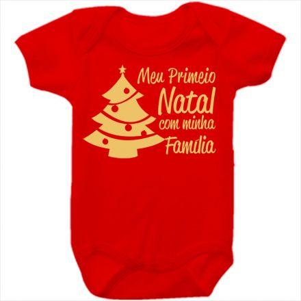 Body de Bebê Meu Primeiro Natal Vermelho 100% Algodão FN0039