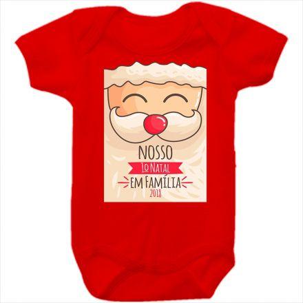 Body de Bebê Meu Primeiro Natal Vermelho 100% Algodão FN0041