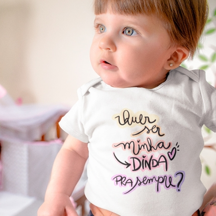 Body de Bebê Quer Ser Minha Dinda Para Sempre - CA1246