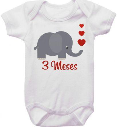 Body Mesversario Personalizado Avulso Elefante