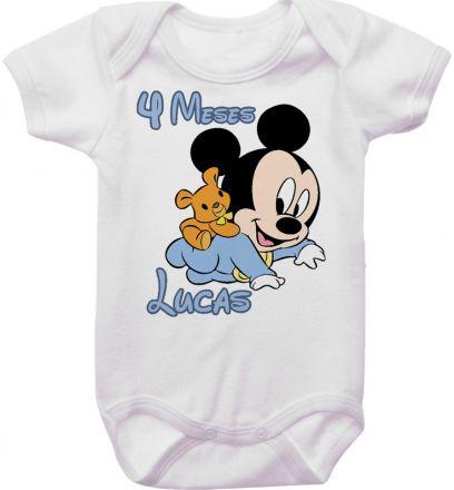 Body Mesversario Personalizado Avulso Mickey Baby MA0116