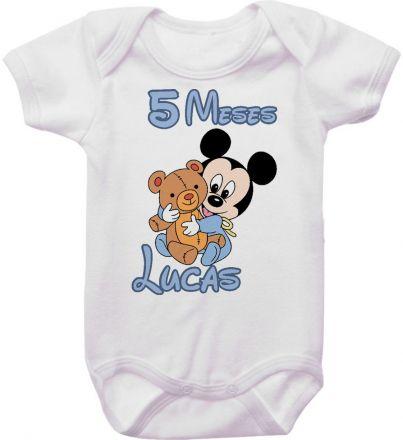 Body Mesversario Personalizado Avulso Mickey Baby MA0117