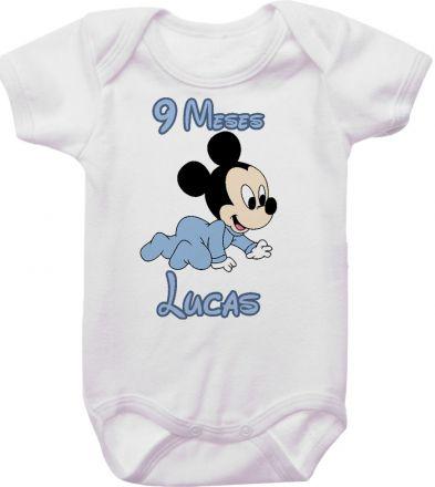 Body Mesversario Personalizado Avulso Mickey Baby MA0121