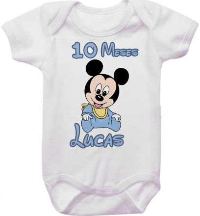 Body Mesversario Personalizado Avulso Mickey Baby MA0122