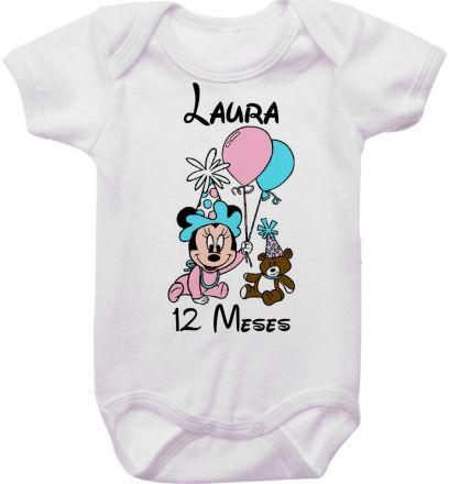 Body Mesversario Personalizado Avulso Minnie Baby MA0132