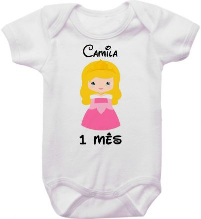 Body Mesversario Personalizado Avulso Princesas Disney MA0137