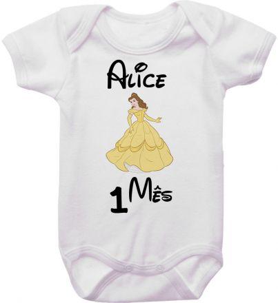 Body Mesversario Personalizado Avulso Princesas Disney MA0138