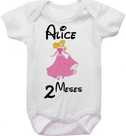 Body Mesversario Personalizado Avulso Princesas Disney MA0140