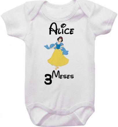 Body Mesversario Personalizado Avulso Princesas Disney MA0142