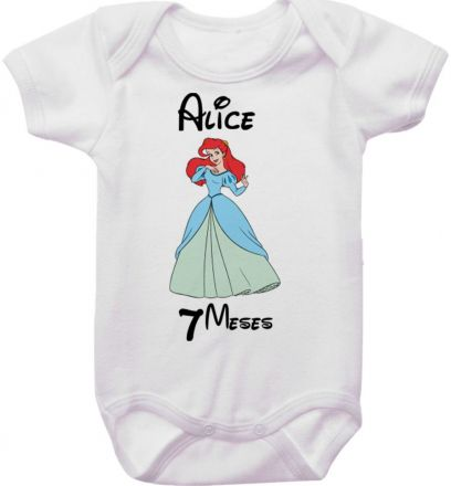 Body Mesversario Personalizado Avulso Princesas Disney MA0150