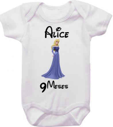 Body Mesversario Personalizado Avulso Princesas Disney MA0154