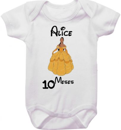 Body Mesversario Personalizado Avulso Princesas Disney MA0156