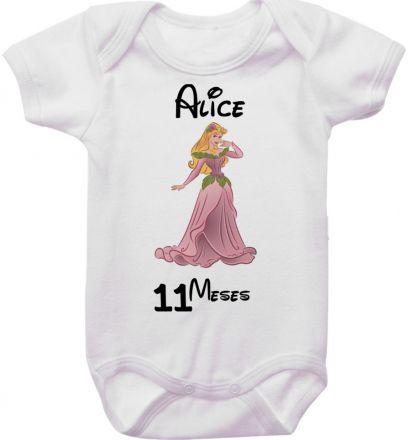 Body Mesversario Personalizado Avulso Princesas Disney MA0158