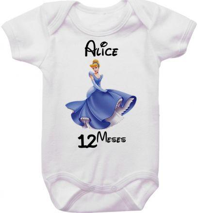 Body Mesversario Personalizado Avulso Princesas Disney MA0159