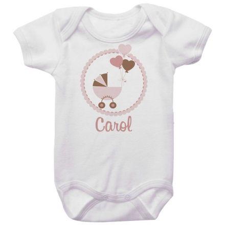 Body Personalizado Carrinho de Bebê Menina