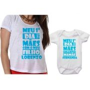 Camiseta Body Personalizado 1º Dia das Mães Com Meu Filho