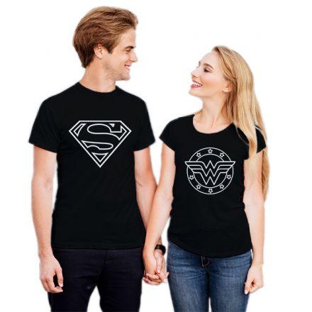 Camiseta Casal Super Homem e Mulher Maravilha CA0721