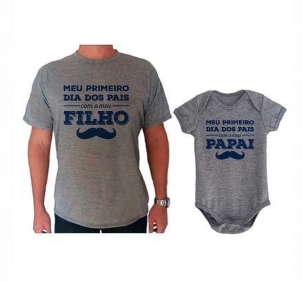 Camiseta e Body Cinza Primeiro Dia dos Pais Bigode CA0715