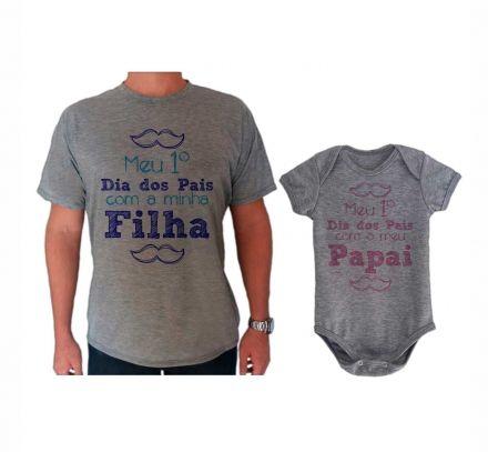 Camiseta e Body Cinza Primeiro Dia dos Pais Bigode CA0717