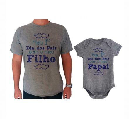 Camiseta e Body Cinza Primeiro Dia dos Pais Bigode CA0718