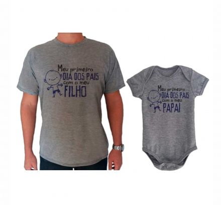 Camiseta e Body Cinza Primeiro Dia dos Pais Boneco CA0719