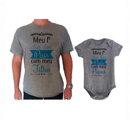 Camiseta e Body Cinza Primeiro Dia dos Pais CA0711