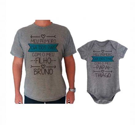 Camiseta e Body Cinza Primeiro Dia dos Pais CA0726