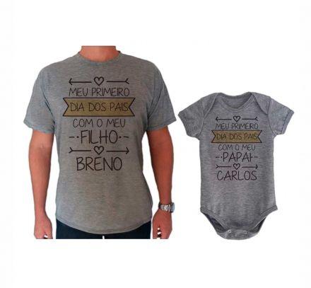 Camiseta e Body Cinza Primeiro Dia dos Pais CA0727