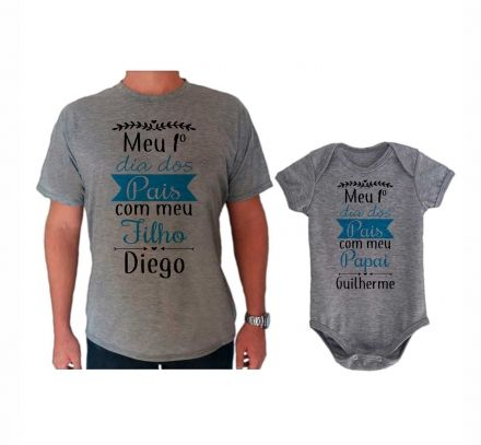 Camiseta e Body Cinza Primeiro Dia dos Pais CA0729