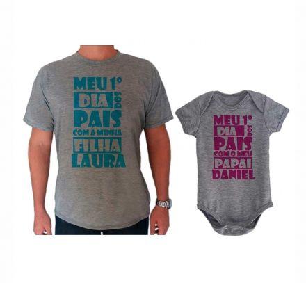 Camiseta e Body Cinza Primeiro Dia dos Pais CA0730