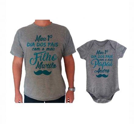 Camiseta e Body Cinza Primeiro Dia dos Pais CA0731