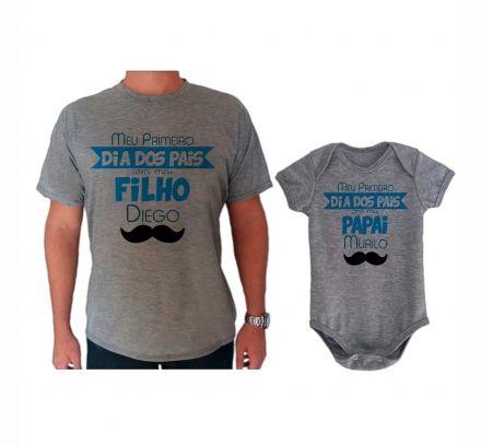 Camiseta e Body Cinza Primeiro Dia dos Pais CA0732