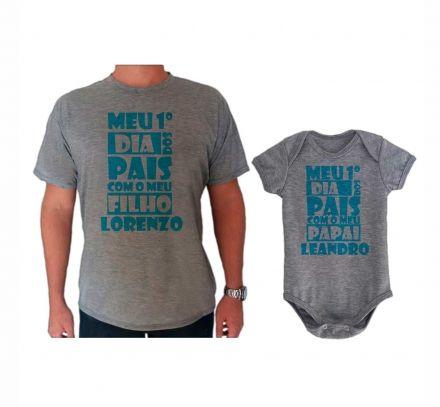 Camiseta e Body Cinza Primeiro Dia dos Pais CA0733