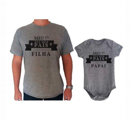 Camiseta e Body Cinza Primeiro Dia dos Pais Rosa CA0713