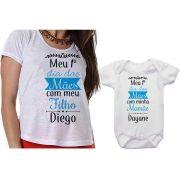 Camiseta e Body Personalizado Meu 1º Dia das Mães Com Meu Filho